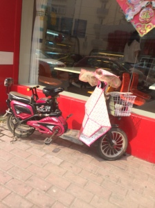 Here is the main mode of transportation in China, an electric scooter.  The gloves and skirt on the front are to prevent tanning of the arms and legs of the driver.